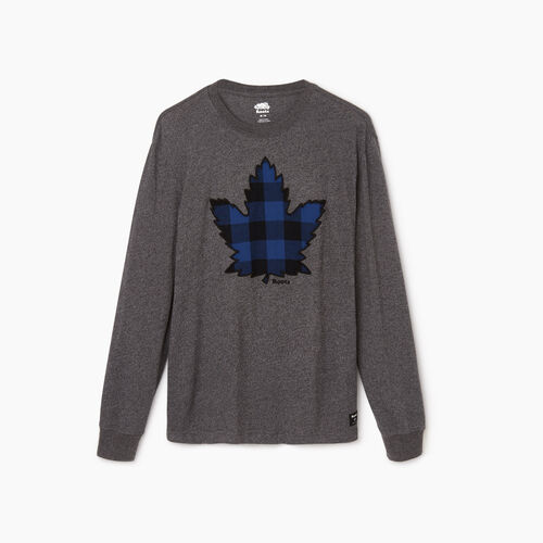Roots-Men Our Favourite New Arrivals-Mens Canuck Plaid Pepper Longsleeve-Charcoal Pepper-A