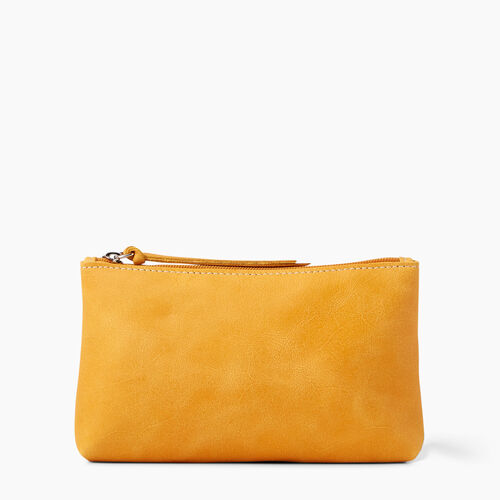 Roots-Leather Leather Accessories-Large Zip Pouch Tribe-Sunset Yellow-A