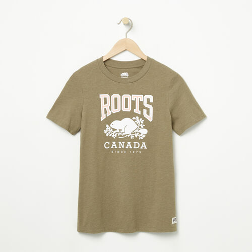 Roots-Women Graphic T-shirts-Womens Classic RC T-shirt-Dusty Olive Mix-A