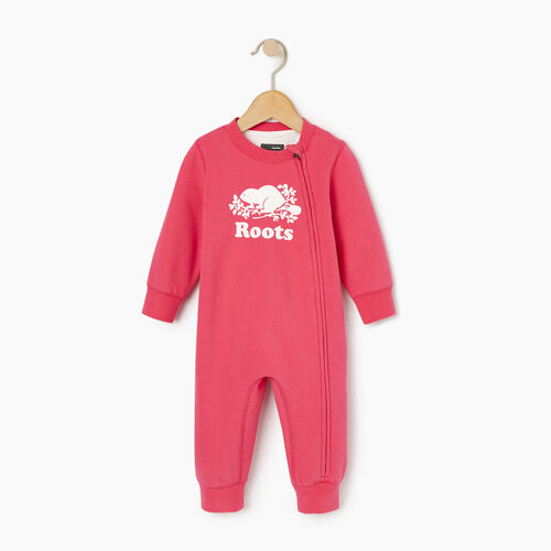 Roots-Kids Our Favourite New Arrivals-Baby Original Cooper Beaver Romper-Pink Flambã‰-A