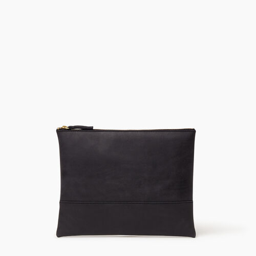 Roots-Leather Collections-Junction Pouch-Jet Black-A