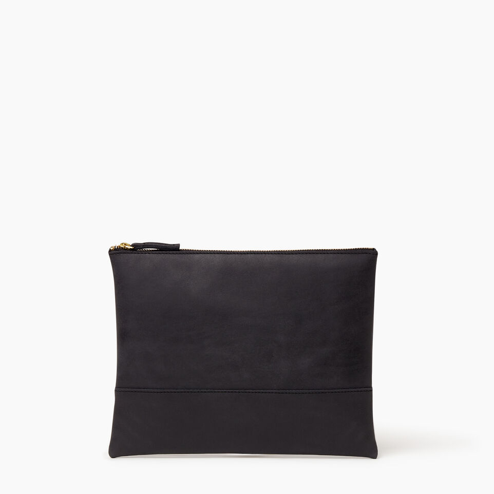 Roots-Women Leather Accessories-Junction Pouch-Jet Black-A