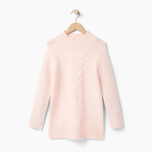 Roots-Kids Girls-Girls Cable Knit Tunic Sweater-Light Pink-A