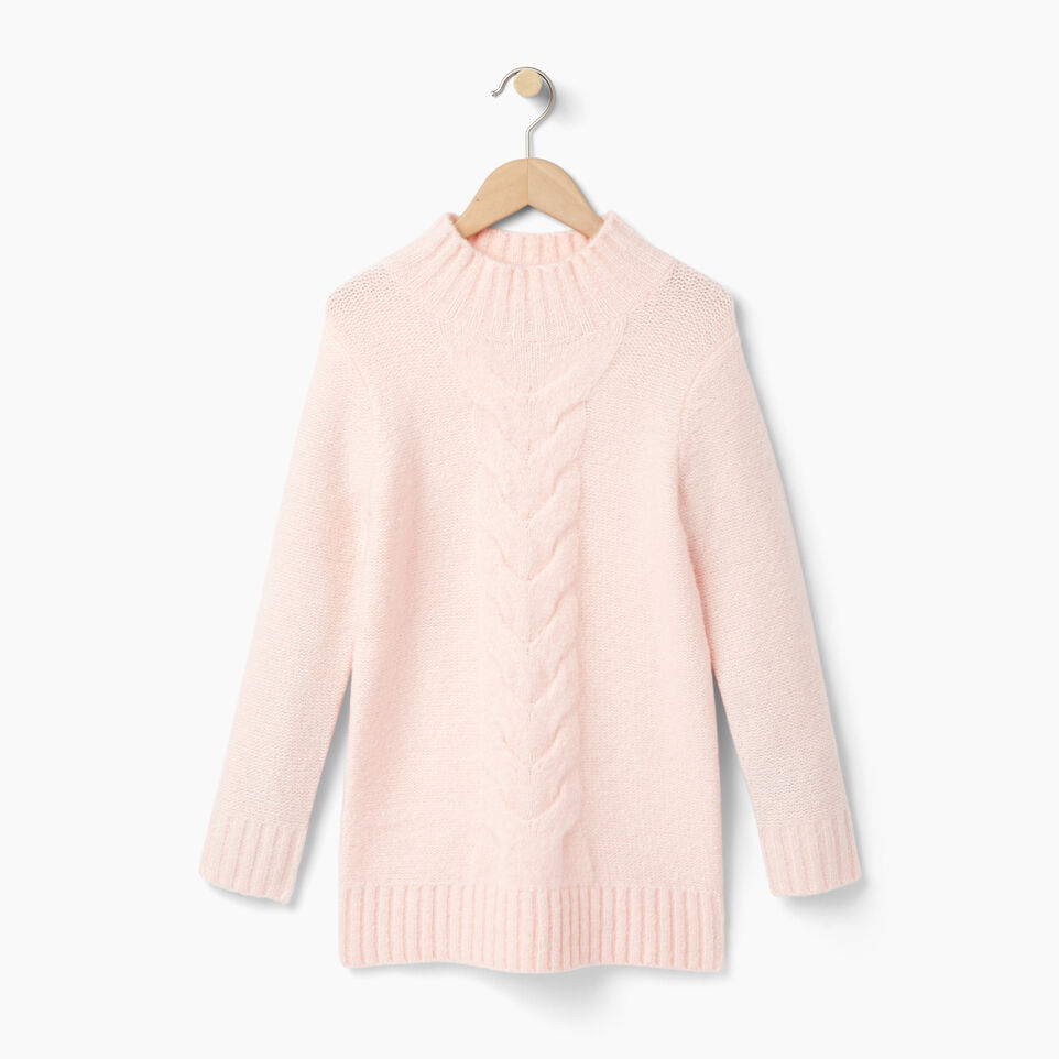 Roots-Clearance Kids-Girls Cable Knit Tunic Sweater-Light Pink-A