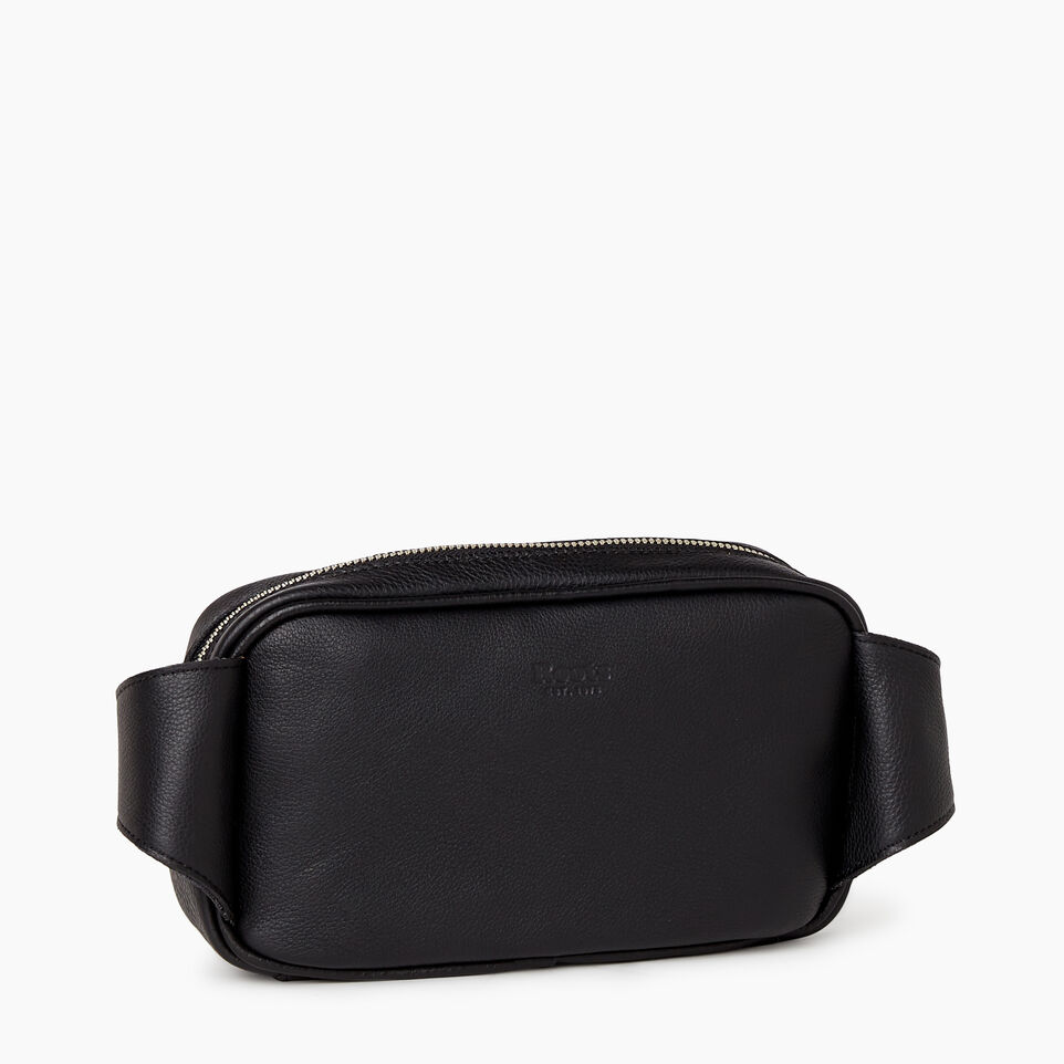 Roots-Leather  Handcrafted By Us Mini Leather Handbags-Roots Belt Bag-Black-C