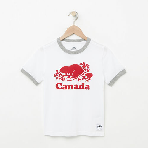 Roots-Kids T-shirts-Boys Cooper Canada Ringer T-shirt-White-A