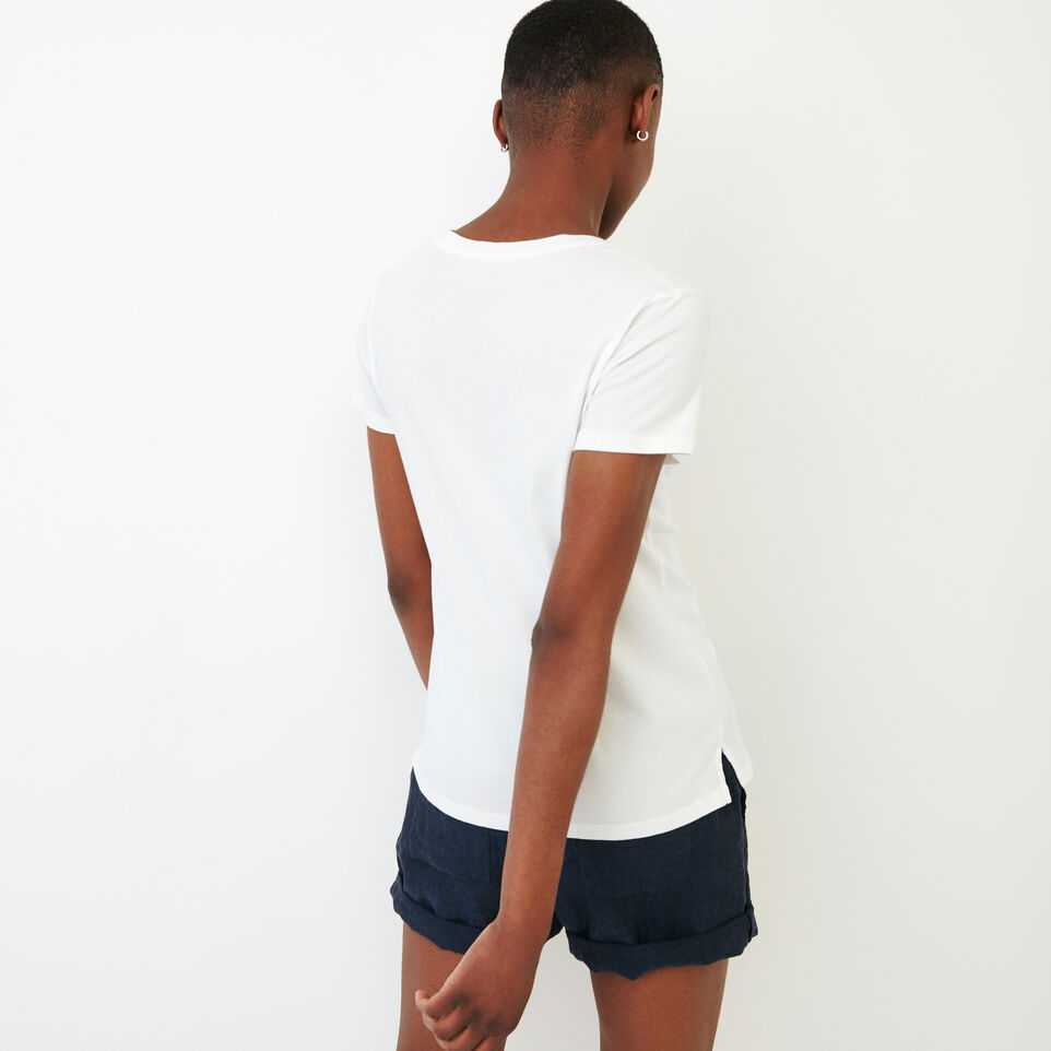 Roots-New For August Women-Essential V T-shirt-Ivory-D