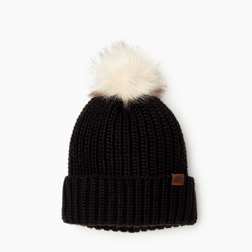 Roots-Women Categories-Olivia Fur Pom Pom Toque-Black-A