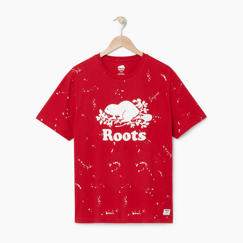 Roots-Men Graphic T-shirts-Mens Splatter Cooper T-shirt-Sage Red-A
