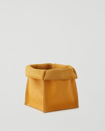 Roots-Leather Leather Accessories-Medium Rollover Basket Cervino-Sunflower-A