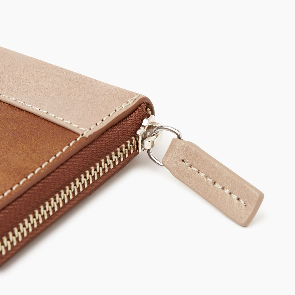 Roots-Leather  Handcrafted By Us Categories-Zip Around Wallet-Champagne/ Natural-E