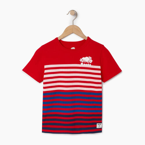 Roots-Kids Our Favourite New Arrivals-Boys Cooper Beach Stripe T-shirt-Racing Red-A