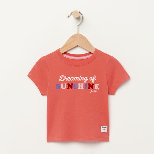 Roots-Clearance Kids-Baby Classic Camp T-shirt-Spiced Coral-A