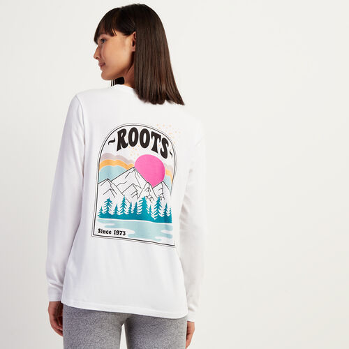 Roots-Women Graphic T-shirts-Womens Sunrise Long Sleeve T-shirt-Crisp White-A