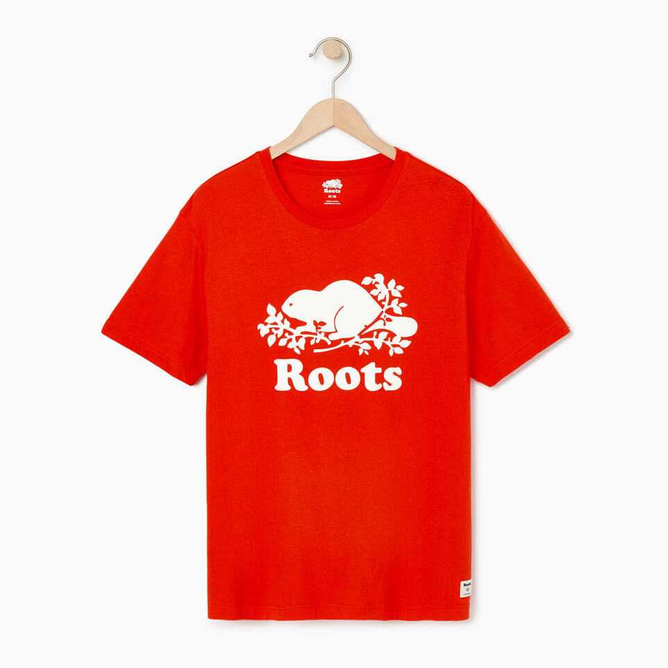 Roots-New For August Men-Mens Cooper Beaver T-shirt-Spicy Orange-A