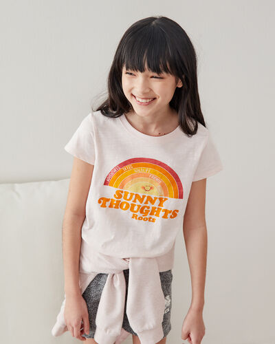 Roots-Kids Tops-Girls Sunny Thoughts T-shirt-Mauve Morn-A