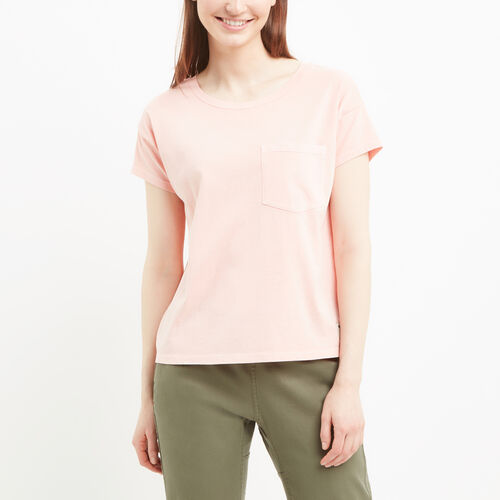 Roots-Women Tops-Boyfriend Pocket T-shirt-Blossom Pink-A