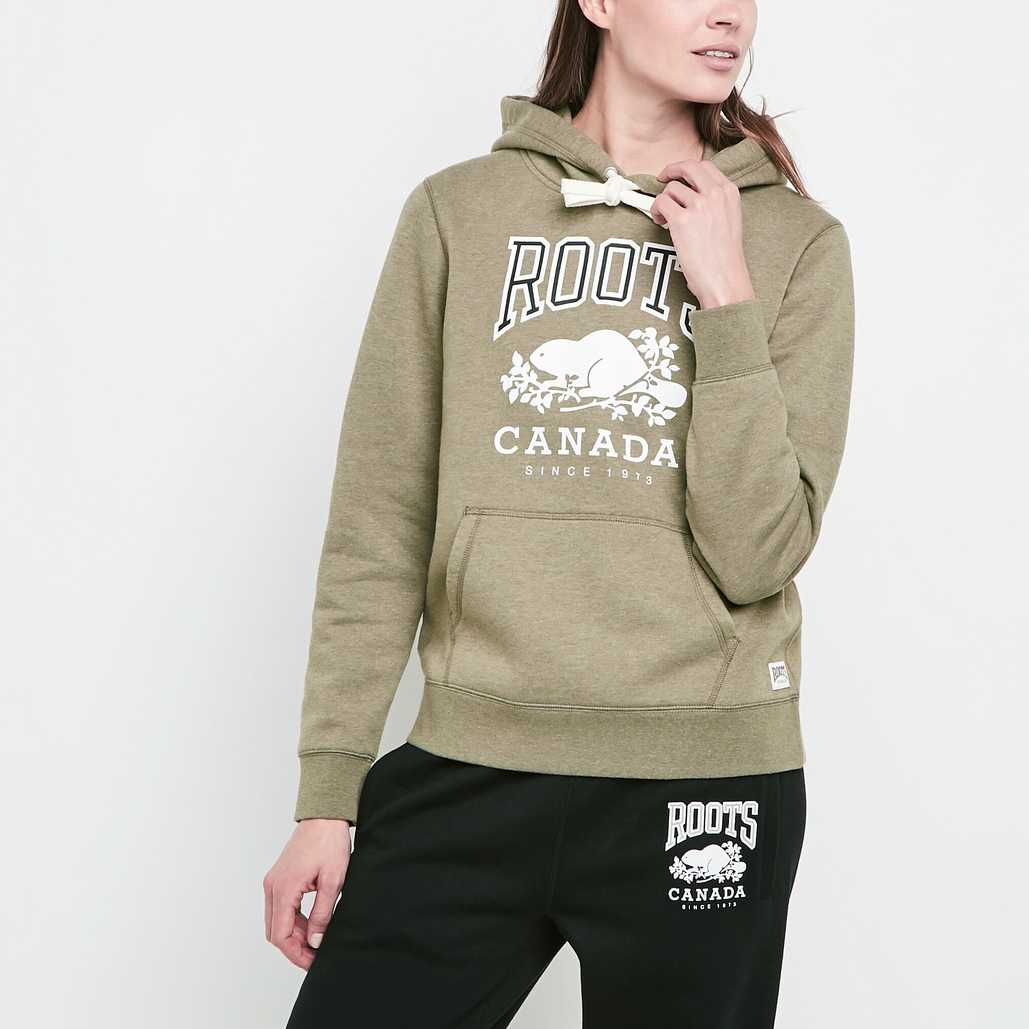 Roots-Women Sweatshirts & Hoodies-Classic Pullover Kanga Hoody-Dusty Olive  Mix-