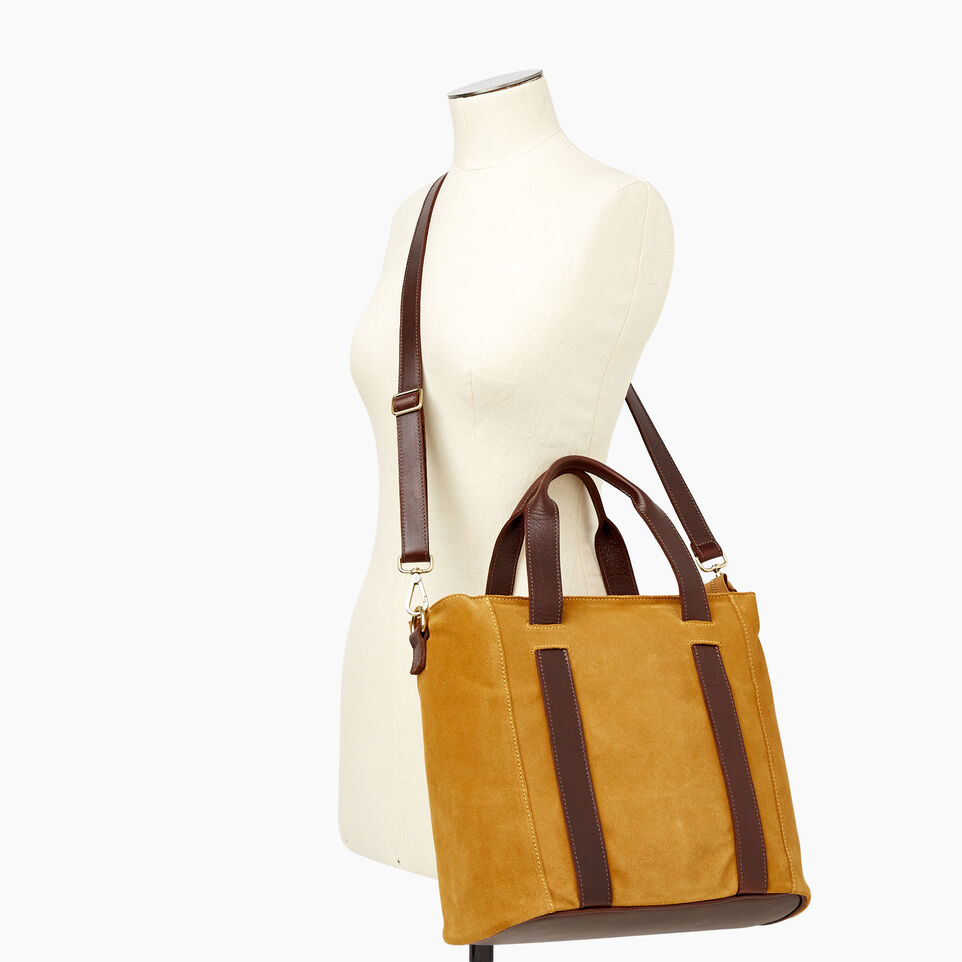 Roots-Women Clothing-Victoria Tote Suede-Squash Yellow-B