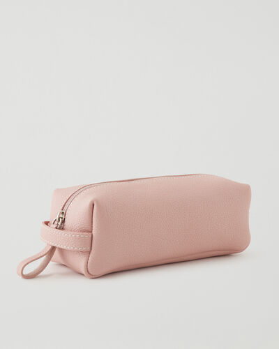Roots-Leather Tech & Travel-Medium Utility Pouch Cervino-Pink Pearl-A