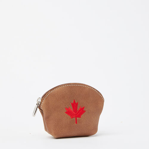 Roots-New For May Leather-Maple Leaf Euro Pouch Tribe-Natural-A