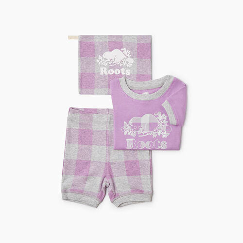 Roots-Kids New Arrivals-Baby Plaid PJ Set-African Violet-A