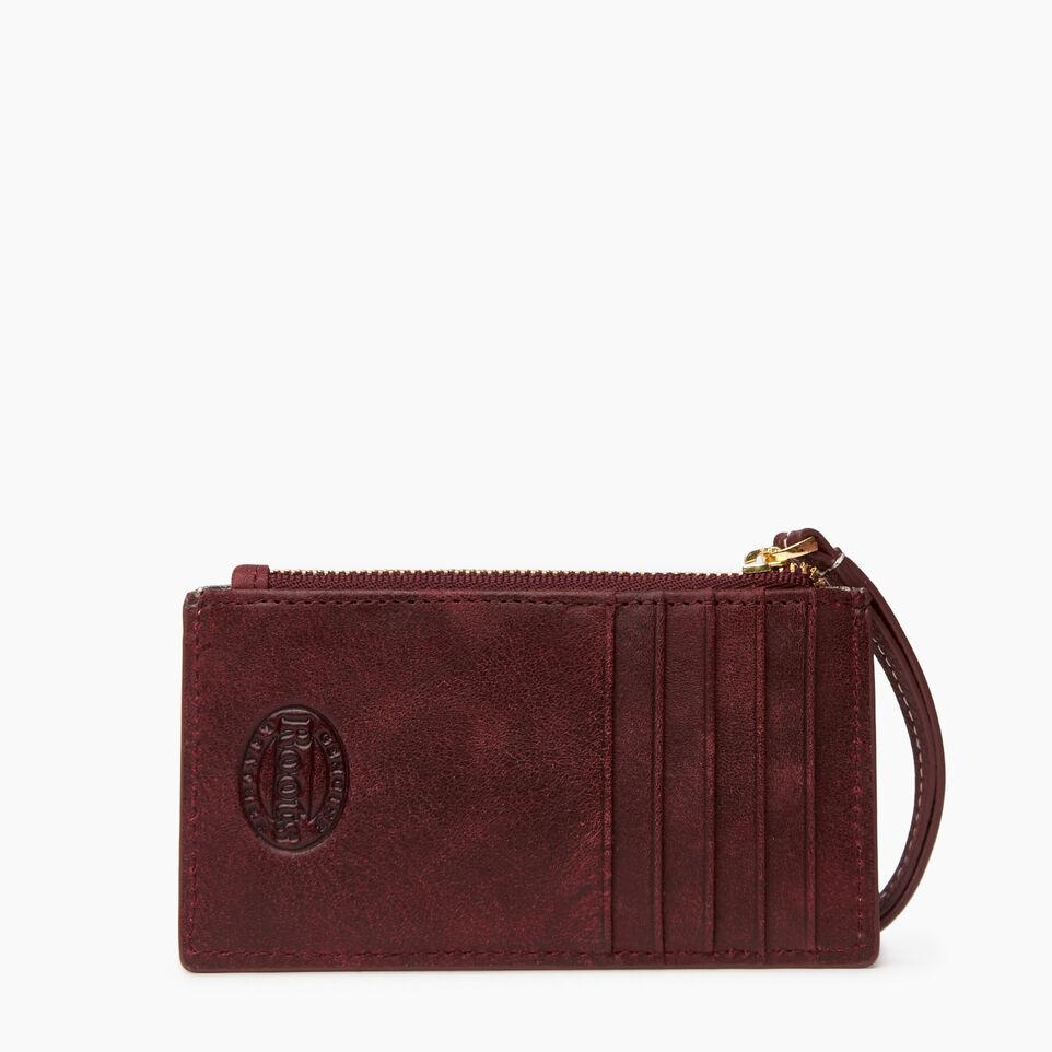 Roots-Women Leather Accessories-Medium Card Wristlet-Crimson-B