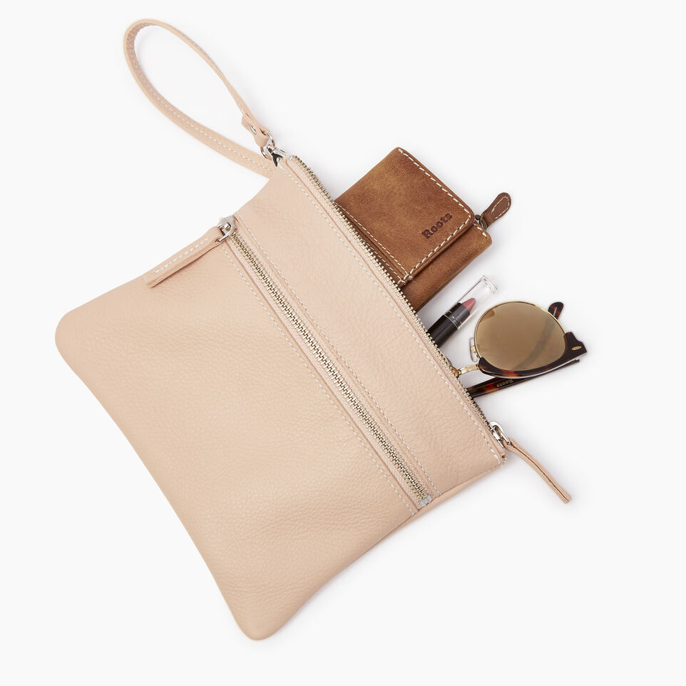 Roots-Leather Our Favourite New Arrivals-Double Zip Wristlet-Pink Mist-B