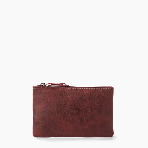 Roots-Leather Leather Accessories-Medium Zip Pouch Tribe-Crimson-A