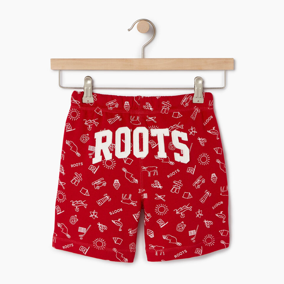 Roots-Kids Our Favourite New Arrivals-Girls Canada Roots Aop Short-Sage Red-B