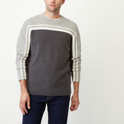 Roots-Men Tops-Pemberton Crew Sweater-Charcoal Mix-A