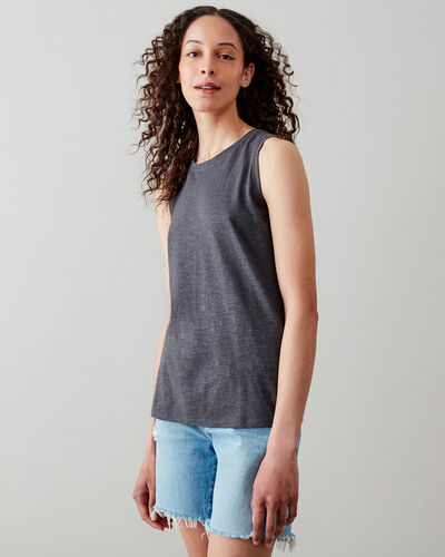 Roots-Women Tops-Le May Tank-Charcoal-A