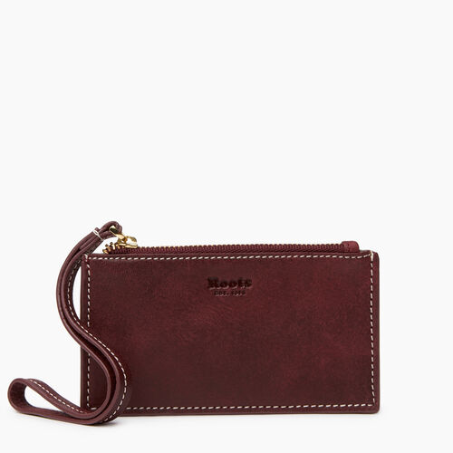 Roots-Women Leather Accessories-Medium Card Wristlet-Crimson-A