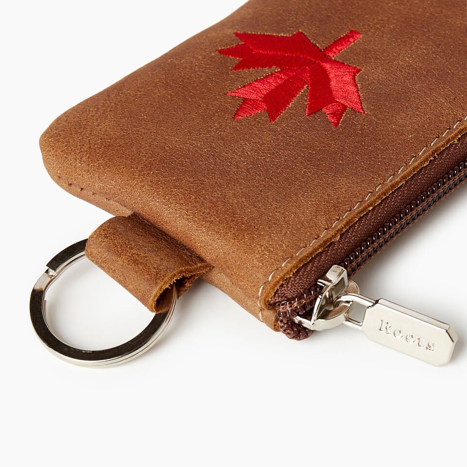 Roots-Leather  Handcrafted By Us Our Favourite New Arrivals-Maple Leaf Top Zip Pouch-Natural-E