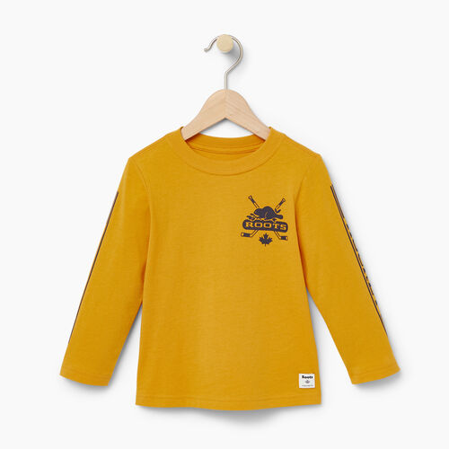 Roots-Kids T-shirts-Toddler Hockey T-shirt-Squash Yellow-A