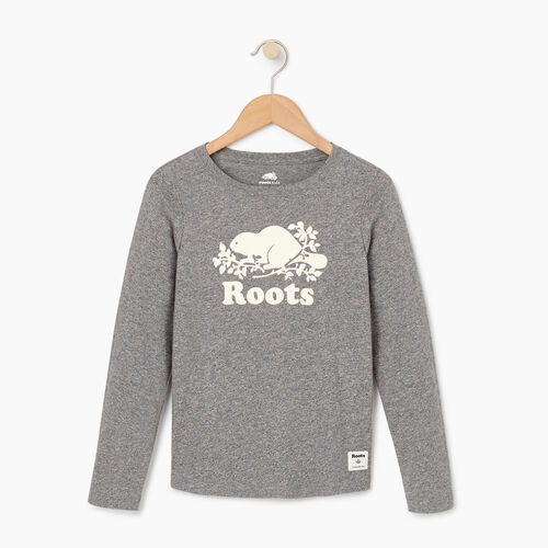Roots-Kids Our Favourite New Arrivals-Girls Original Cooper Beaver T-shirt-Salt & Pepper-A