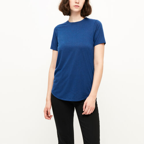 Roots-Clearance Women-Sandy Nepped Top-Blue Depths Mix-A