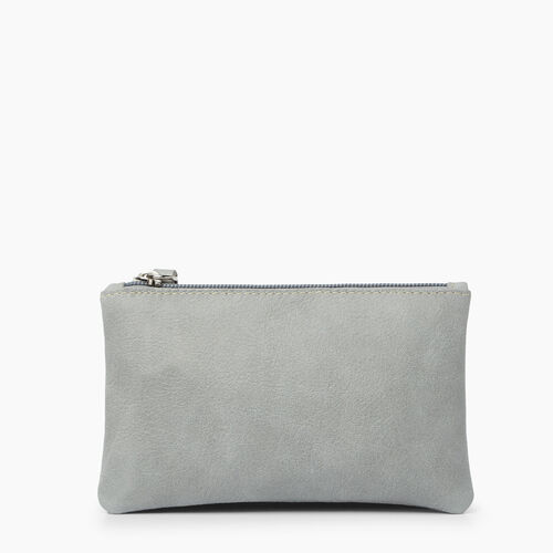 Roots-Clearance Leather-Medium Zip Pouch Tribe-Quartz-A