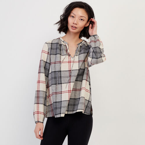 Roots-Women New Arrivals-Smoke Lake Plaid Peasant Top-Birch White-A