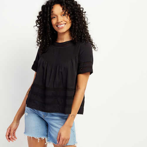 Roots-Women Clothing-Kenosee Lace Top-Black-A