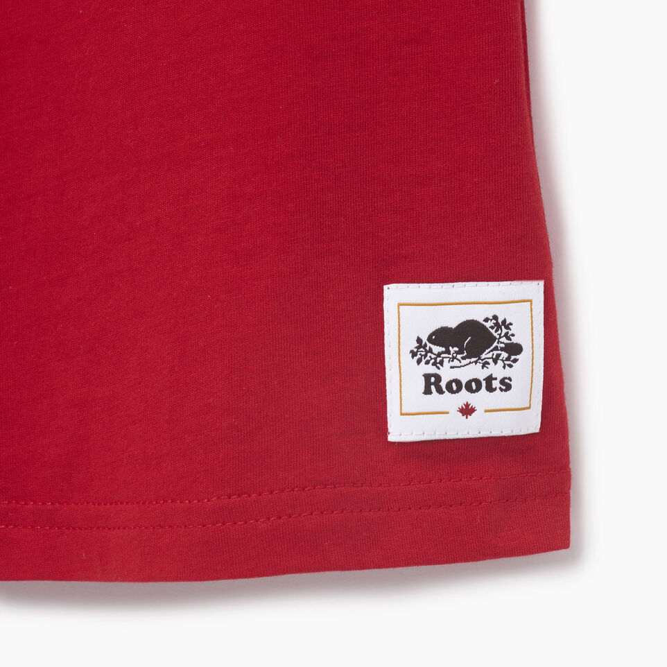 Roots-Kids Our Favourite New Arrivals-Boys Blazon T-shirt-Sage Red-C