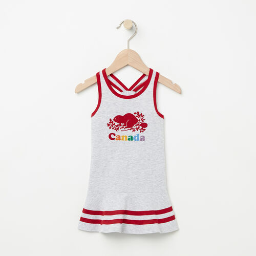 Roots-Kids Tops-Baby Canada Cooper Dress-Snowy Ice Mix-A