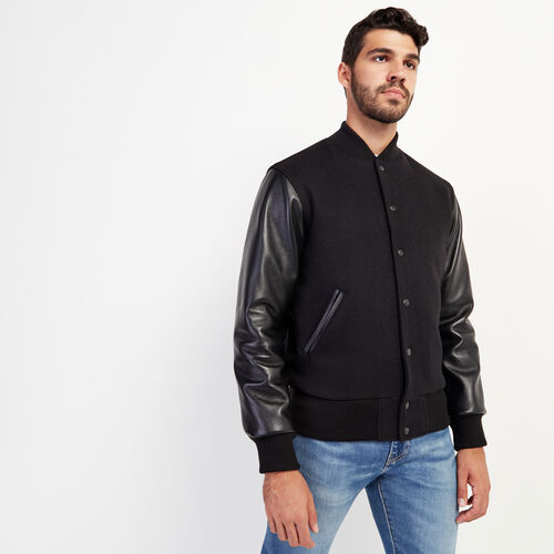 Roots-Leather Award Jackets-Mens Classic Award Jacket-Black-A