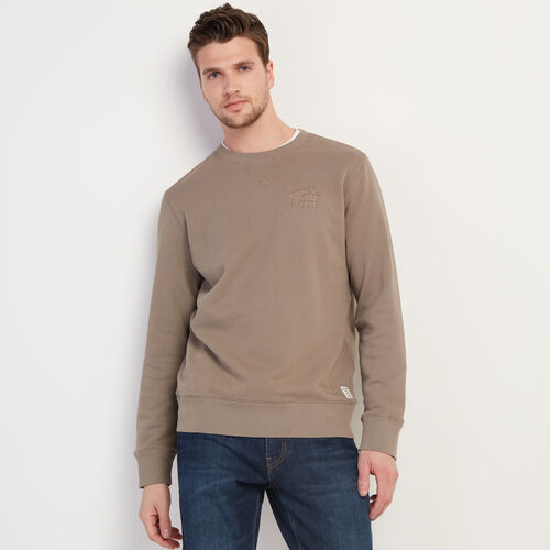 Roots-Men Clothing-Roots Organic Crew Sweatshirt-Brown Quercus-A