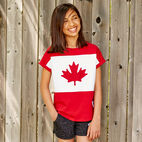 Roots-Kids Canada Collection-Girls Blazon T-shirt-Sage Red-A