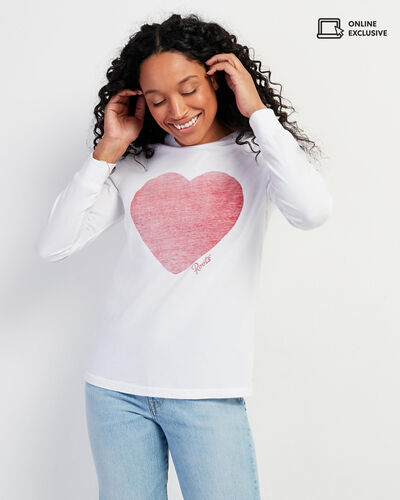 Roots-Women Graphic T-shirts-Womens Love Roots Long Sleeve T-shirt-Crisp White-A