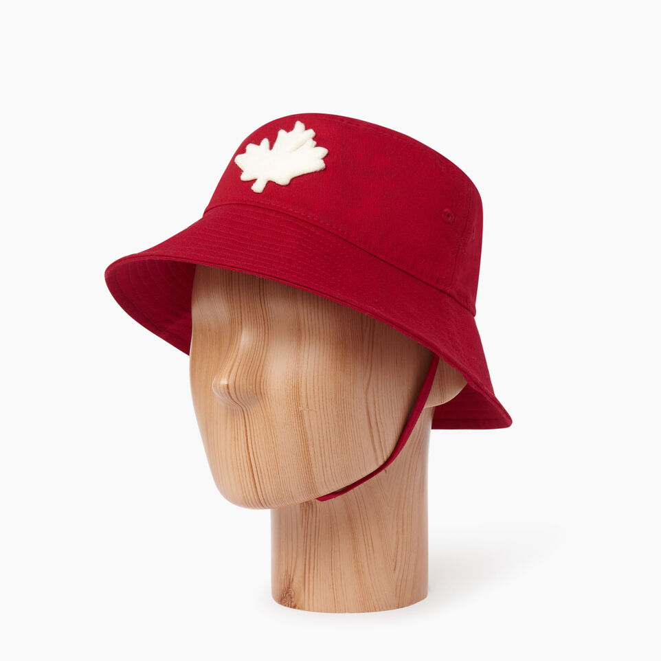 Roots-Clearance Kids-Toddler Canada Leaf Bucket Hat-Sage Red-B
