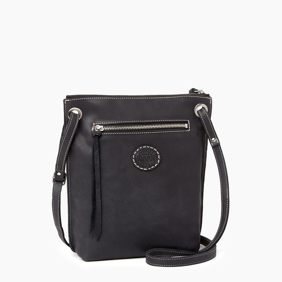 Roots-Leather  Handcrafted By Us Handbags-Festival Bag Tribe-Jet Black-C