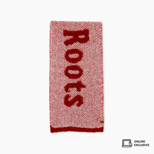 Roots-Women Accessories-Roots Sherpa Scarf-Cabin Red Miix-A
