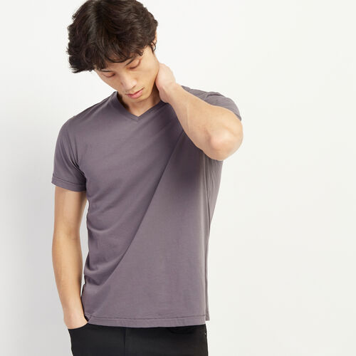 Roots-Men Clothing-Essential V-neck T-shirt-Shale-A